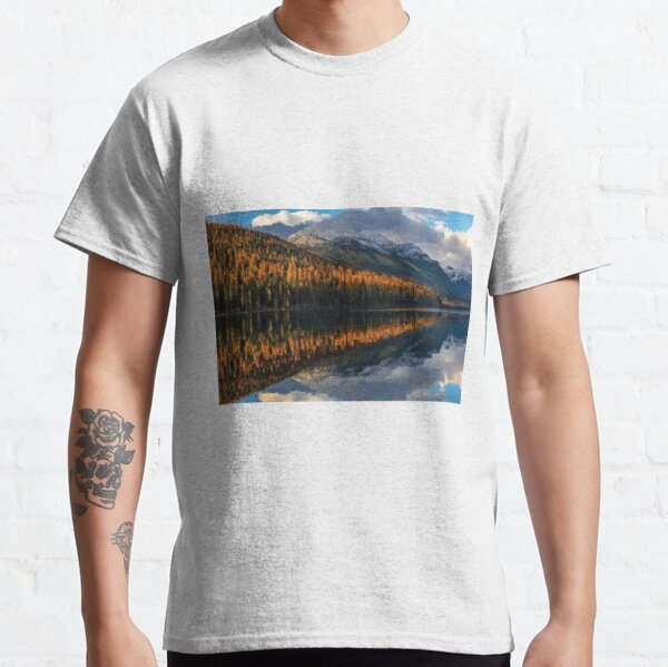 Mountain Peaks Reflect Into Bowman Lake In Autumn Glacier National Park Classic T-Shirt