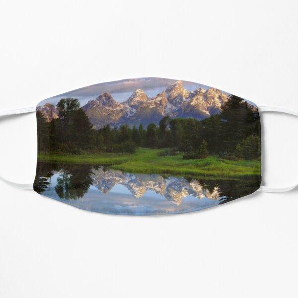 Teton Range And Its Reflection In Snake River Grand Teton National Park Flat Mask