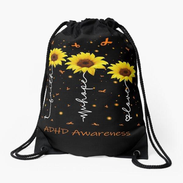 Sunflower Faith Hope Love ADHD Awareness Drawstring Bag