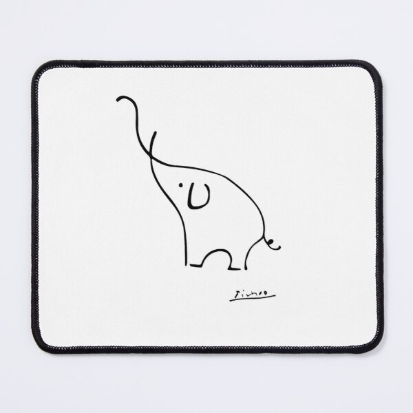 Picasso Elephant Line Art, Animals Designs for Wall Art, Prints, Posters, Men, Women, Kids Mouse Pad