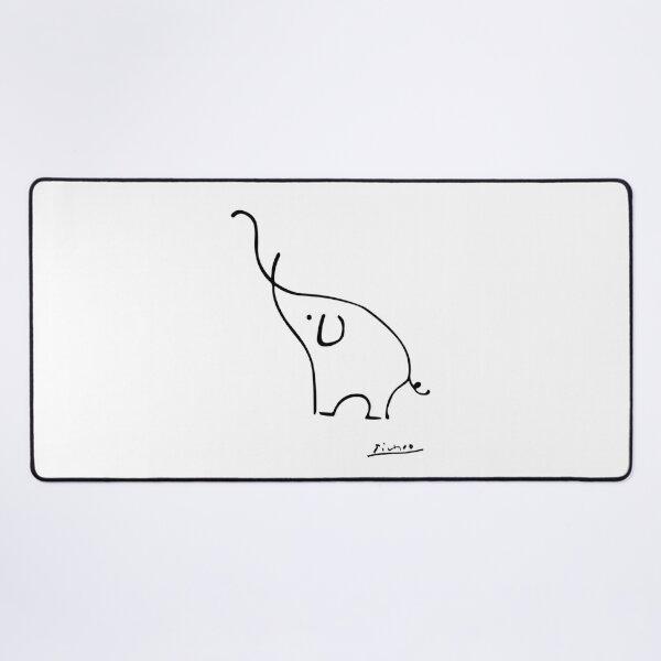 Picasso Elephant Line Art, Animals Designs for Wall Art, Prints, Posters, Men, Women, Kids Desk Mat