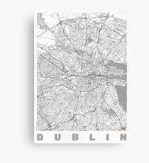 Dublin Map Line Canvas Print