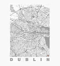 Dublin Map Line Photographic Print