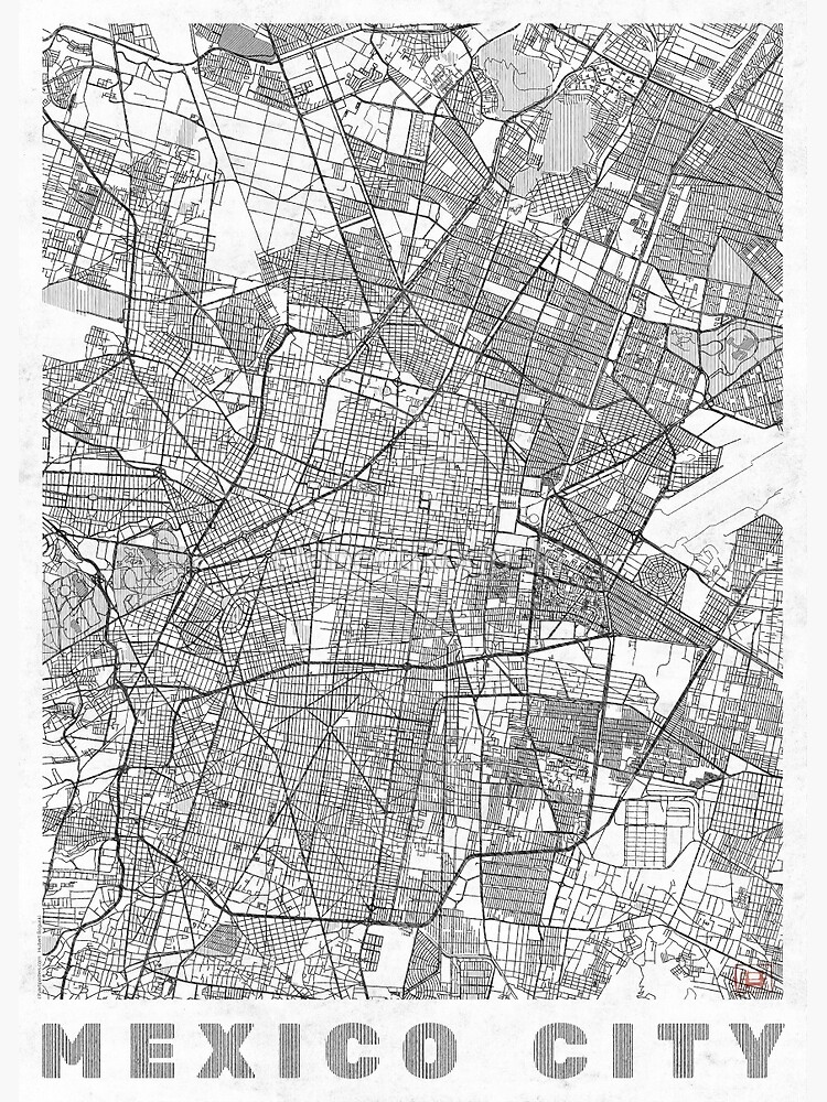 Mexico City Map Line by HubertRoguski