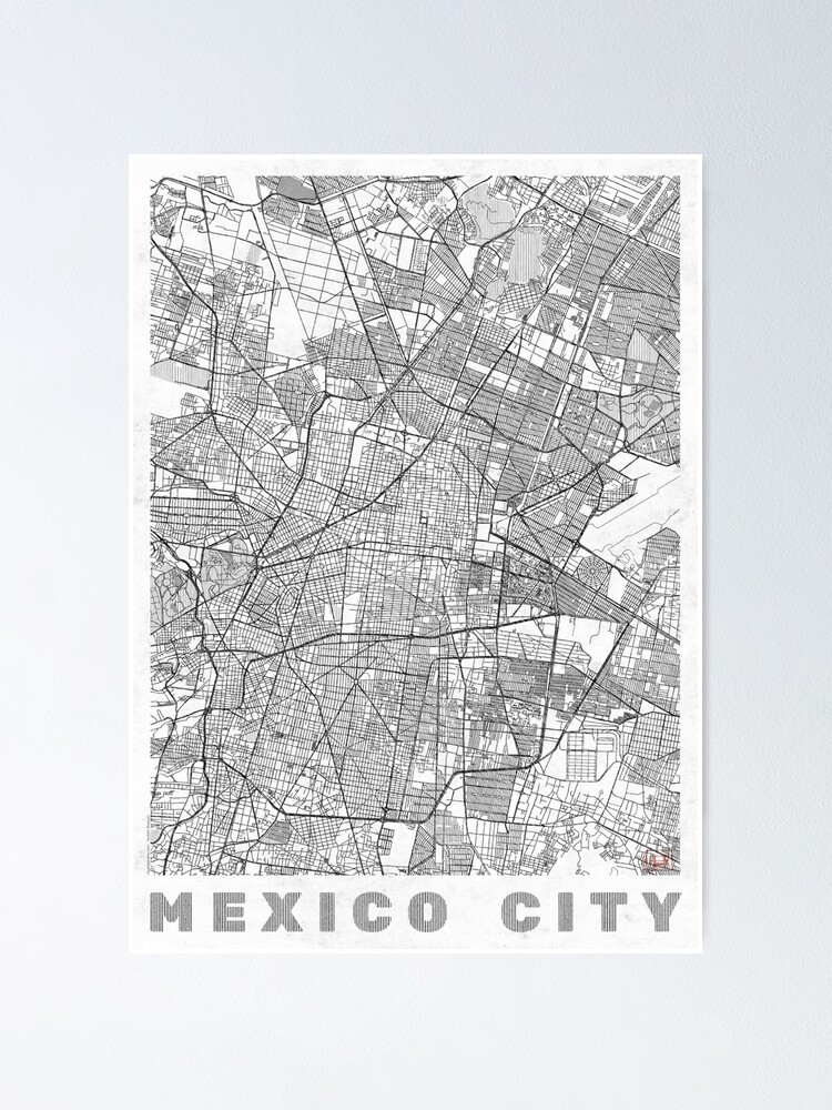 Alternate view of Mexico City Map Line Poster