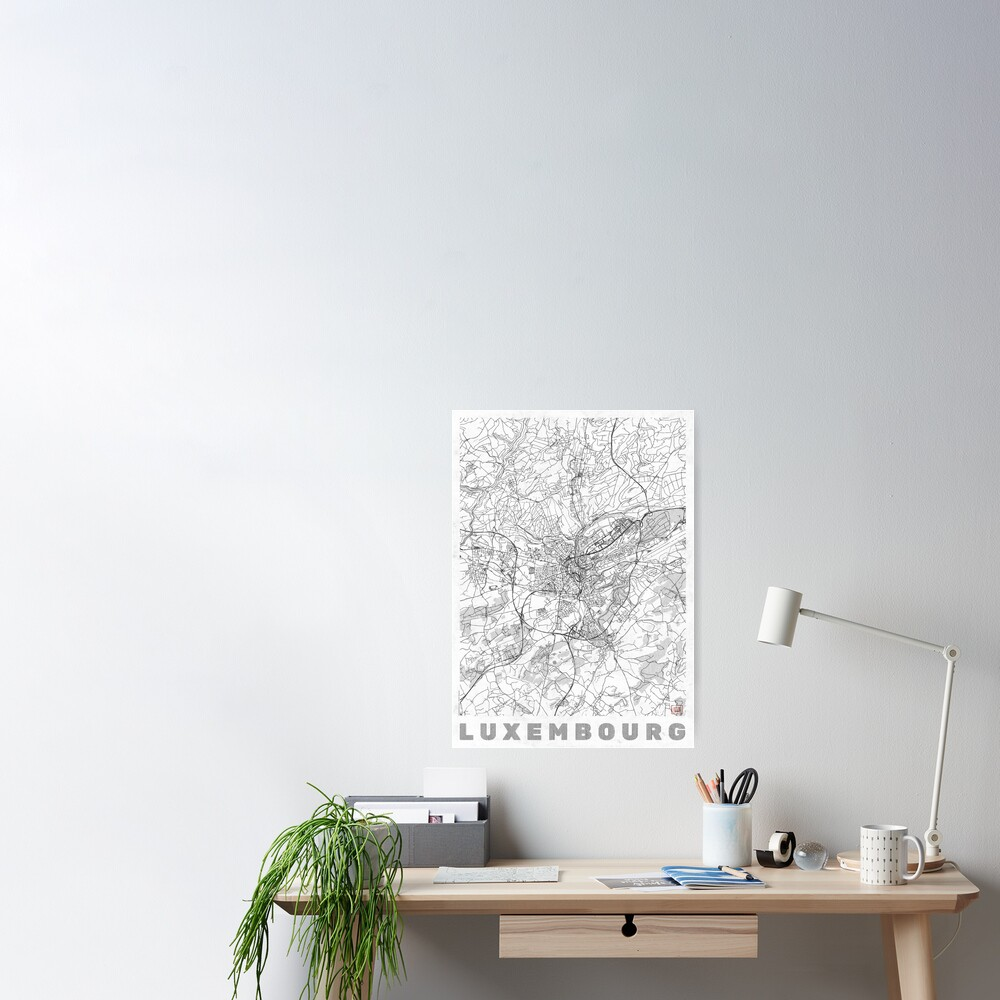 Luxembourg Map Line Poster