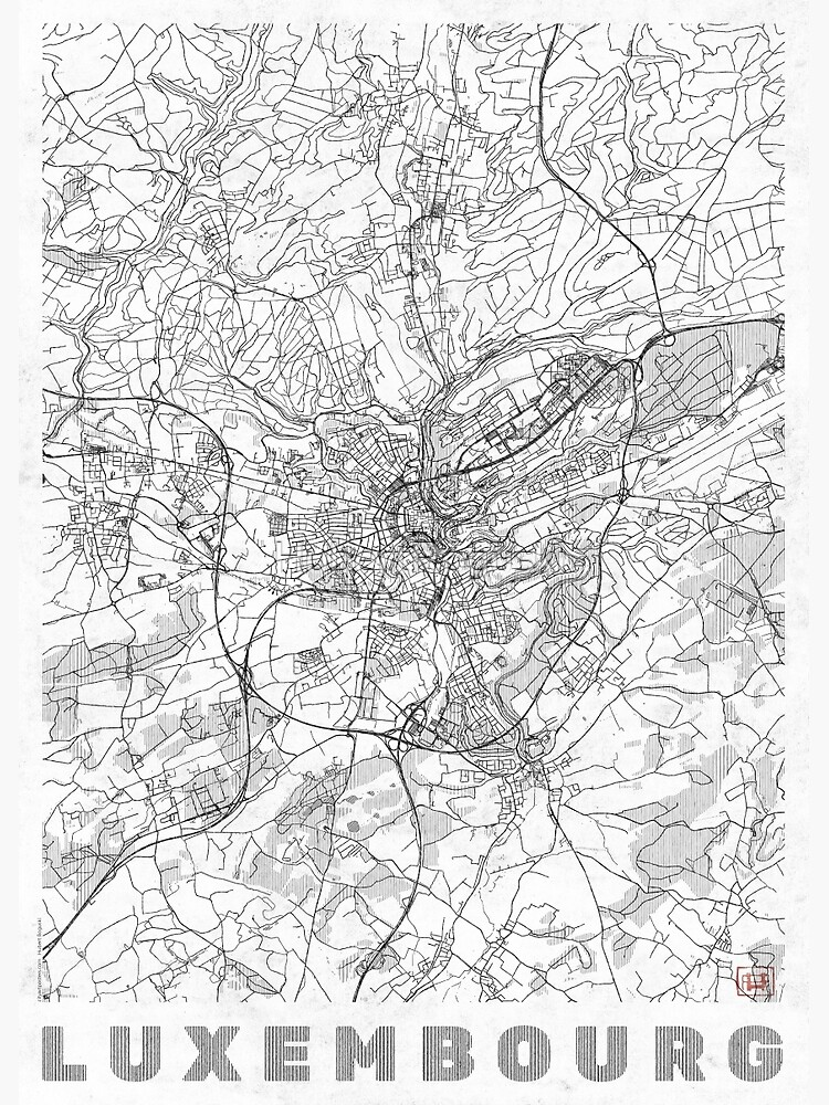 Luxembourg Map Line by HubertRoguski