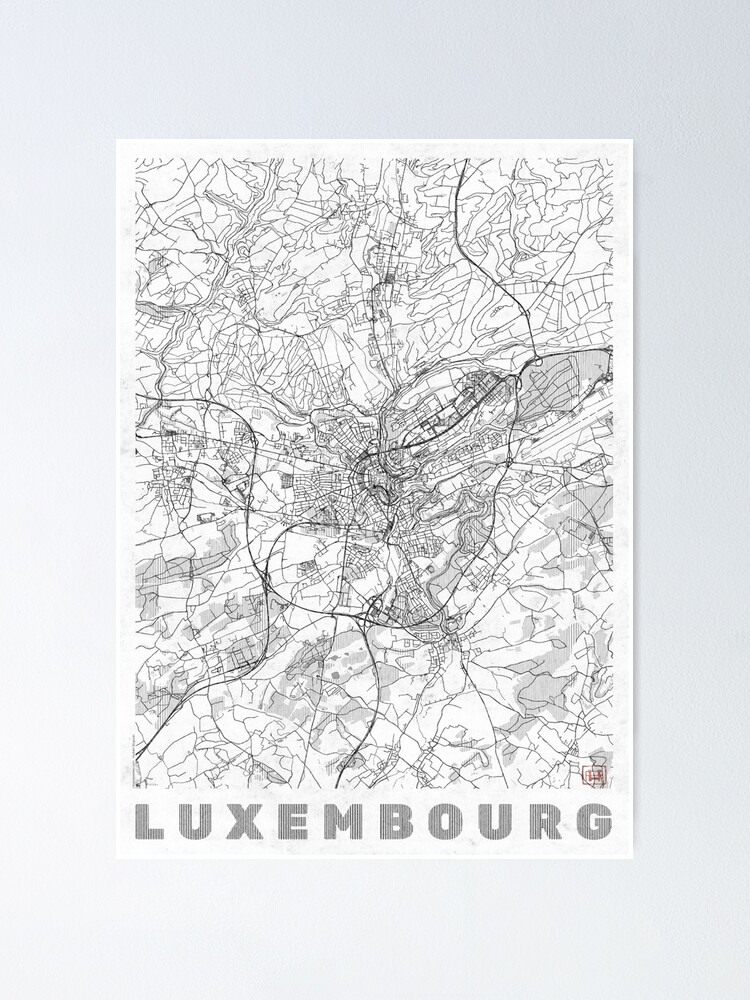 Alternate view of Luxembourg Map Line Poster