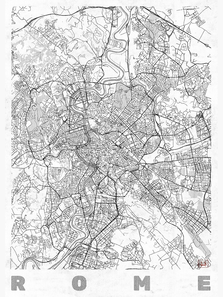 Rome Map Line by HubertRoguski
