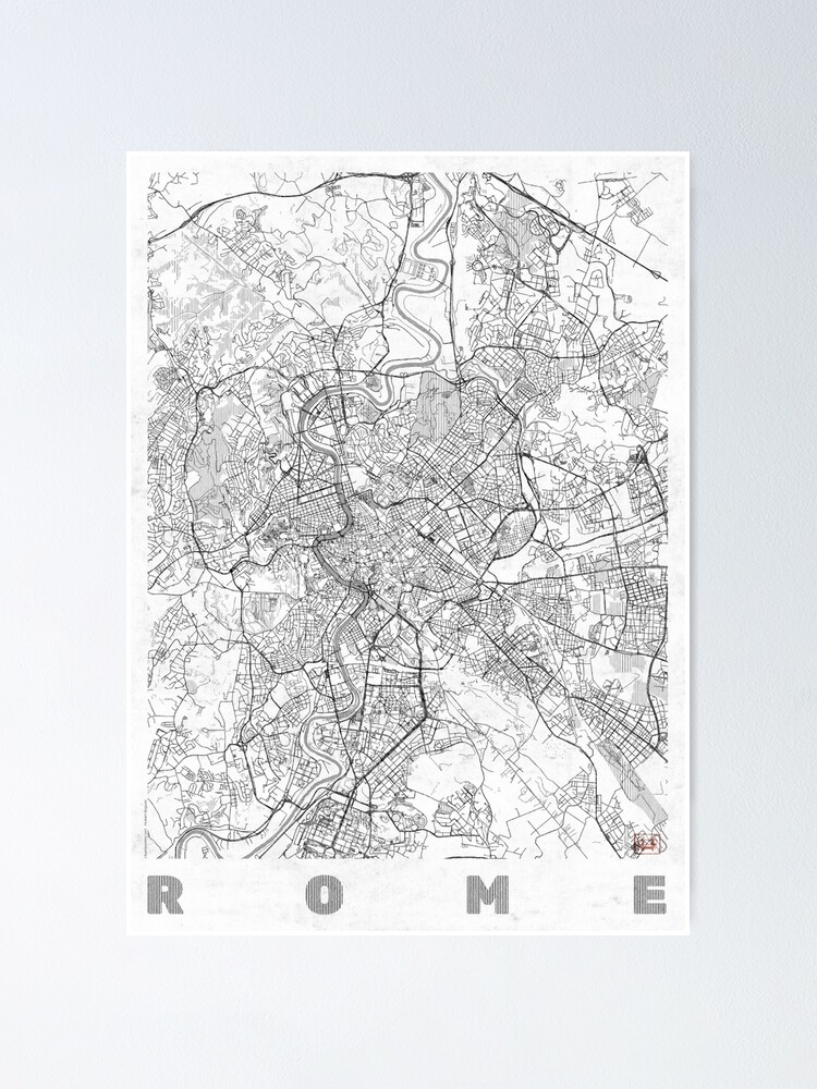 Alternate view of Rome Map Line Poster