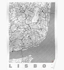 Lisbon Map Line Poster
