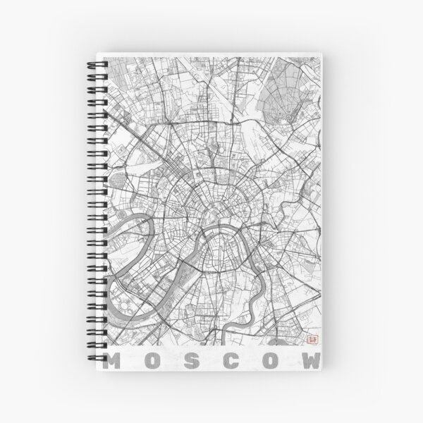 Moscow Map Line Spiral Notebook