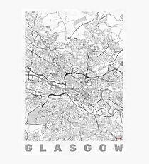 Glasgow Map Line Photographic Print