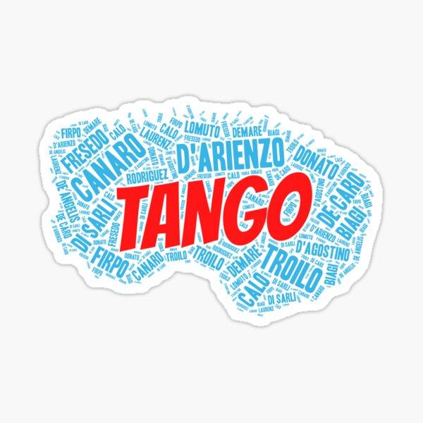 Argentine Tango Orchestras Printed on Blue Bandoneon Word Art Sticker