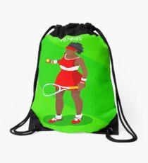 Tennis Player Vector Isometric Drawstring Bag