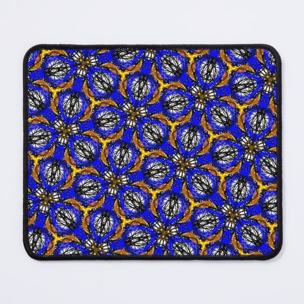 Blue yellow African print  Mouse Pad