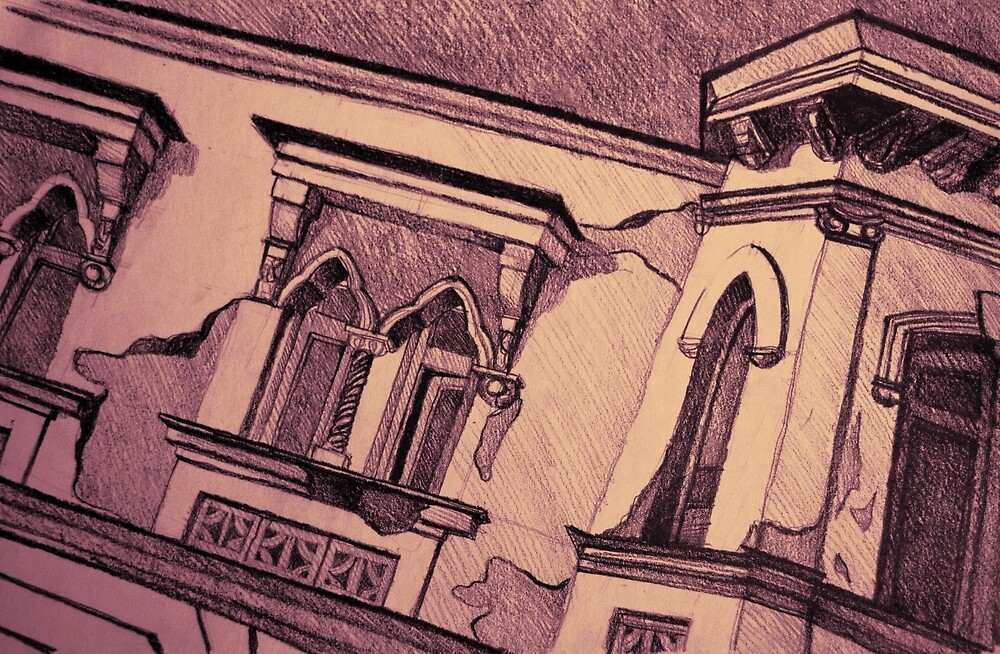 Drawing of an old Venetian Palace by oanaunciuleanu