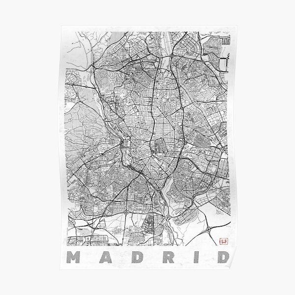 Madrid Map Line Poster