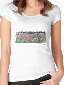 Spring flowers and stone wall Women's Fitted Scoop T-Shirt
