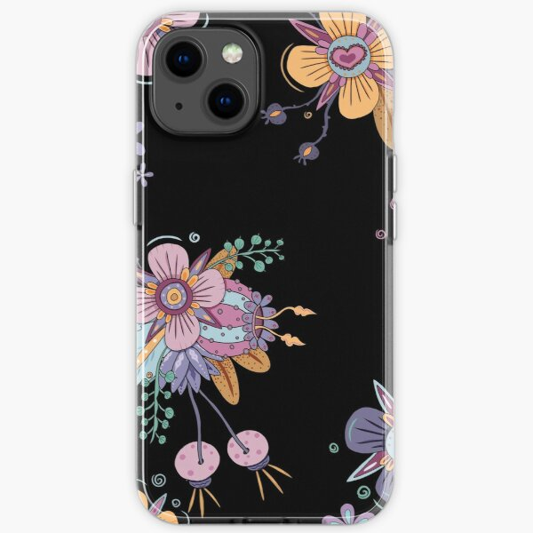 Colorful Flowers - Black iPhone Soft Case