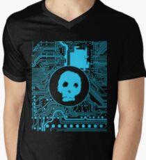 Blue Blurry Skull (Cybergoth) Men's V-Neck T-Shirt