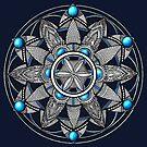 'Sacred Geometry' Mandala with Blue Gemstones by WelshPixie