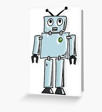 ROBOT, Cartoon, Tin Man, Robotics, Toon, Line drawing, 1950s Greeting Card