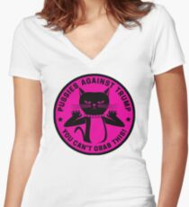 Pussies Against Trump Pink Women's Fitted V-Neck T-Shirt