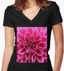 Pink Dahlia Flower Macro Women's Fitted V-Neck T-Shirt