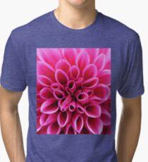 Pink Dahlia Flower Macro Tri-blend T-Shirt