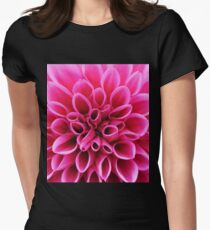 Pink Dahlia Flower Macro Womens Fitted T-Shirt