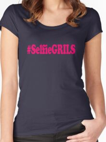 #SelfieGRILS Shirt - Funny Girl Shirts Women's Fitted Scoop T-Shirt