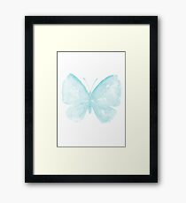Blue Butterfly Illustration Watercolor Painting Fairytale Insect Poster Framed Print