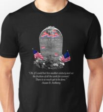 "Memorial to the 19th Amendment: Susan B. Anthony Headstone with ""I Voted"" Stickers Unisex T-Shirt"
