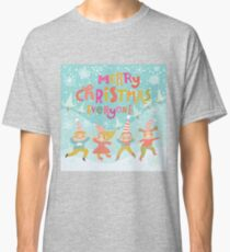 Merry christmas,whimsical,x-mas,christmas,,cute, kid,kids,pattern,fun,happy,teal,snow,kids dancing Classic T-Shirt