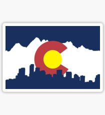 Colorado Flag (cityscape and mountain range) Sticker