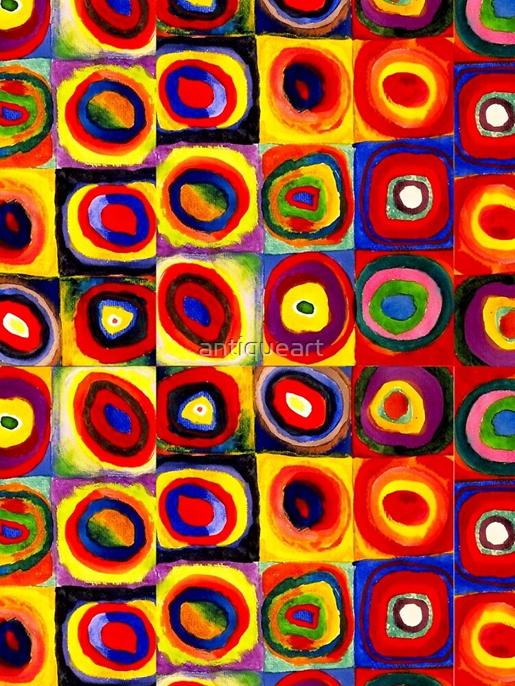 Kandinsky Modern Squares Circles Colorful by antiqueart