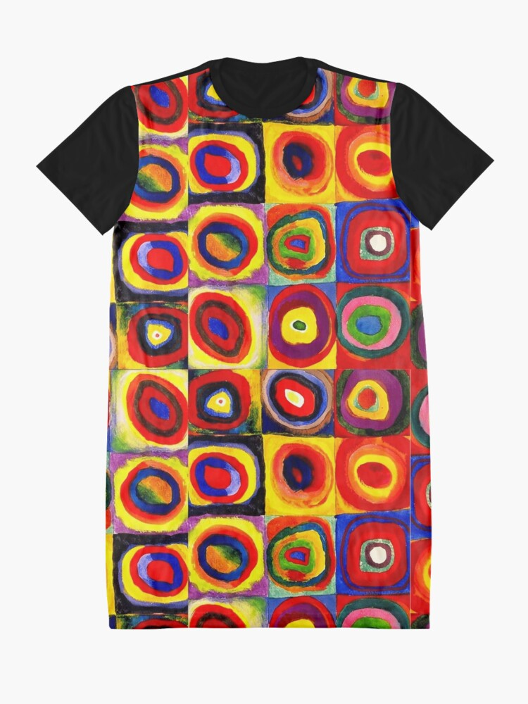 Alternate view of Kandinsky Modern Squares Circles Colorful Graphic T-Shirt Dress