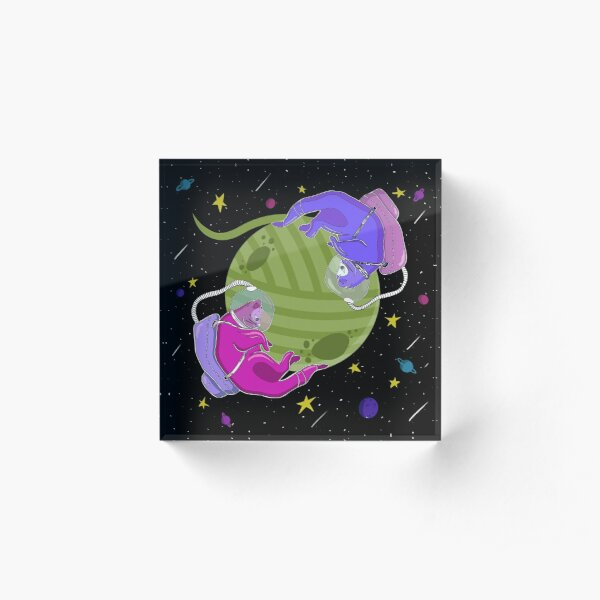 Cute Cats in Space Acrylic Block