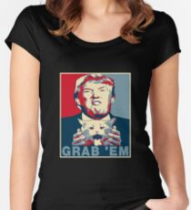 Trump Grab Em Poster Women's Fitted Scoop T-Shirt