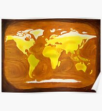 Map-World Map with Ocean Currents and Landscape Poster