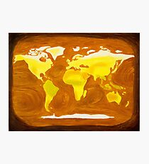 Map-World Map with Ocean Currents and Landscape Photographic Print