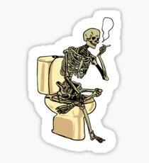 Skeleton on toilet Sticker