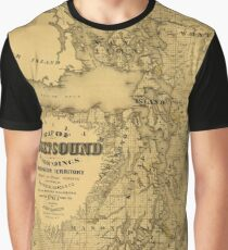 Map of Puget Sound 1877 Graphic T-Shirt
