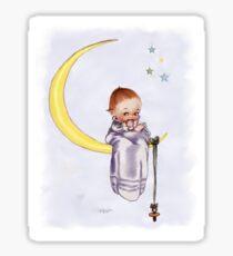 Kewpie Doll on Moon Sticker