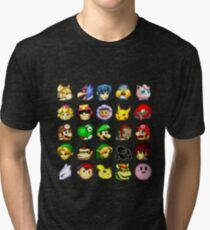 Super Smash Bros. Melee Neutral Stock Icons Tri-blend T-Shirt