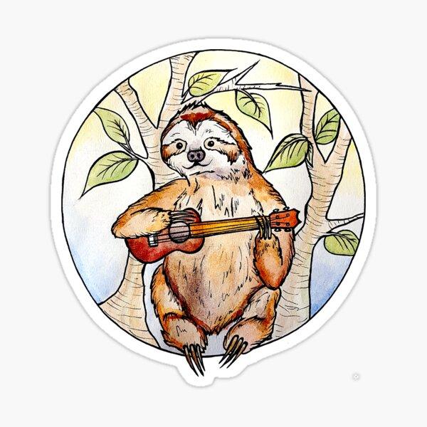 Sloth playing a ukulele Sticker