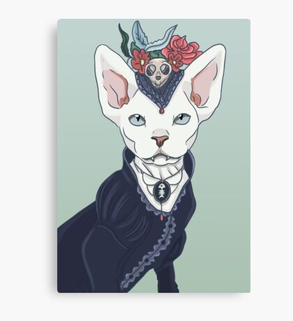 Victorian vampire kitty Canvas Print
