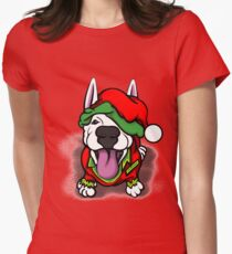 Christmas Festive Happy Bull Terrier Womens Fitted T-Shirt