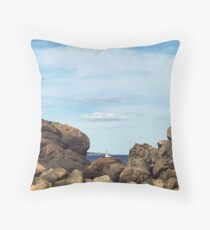Sailing through the Rocks Throw Pillow